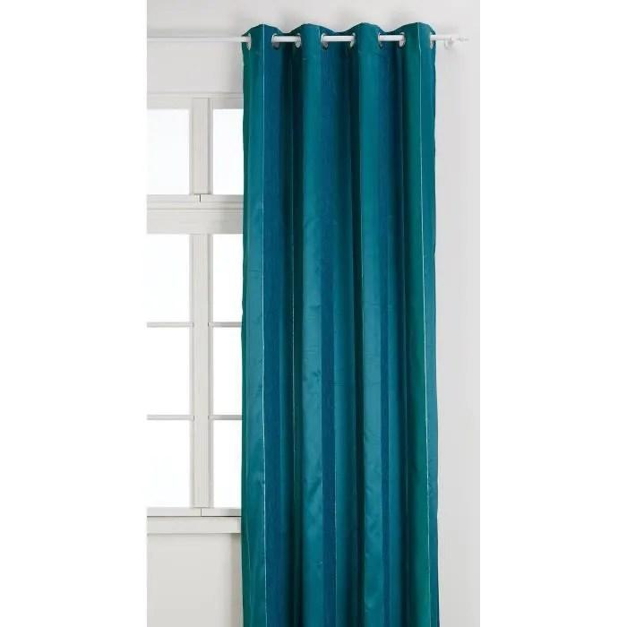 homemaison 09375 8 al voilage jacquard rayure chenille verticale avec oeillets ronds bleu canard argent 135 x 260 cm
