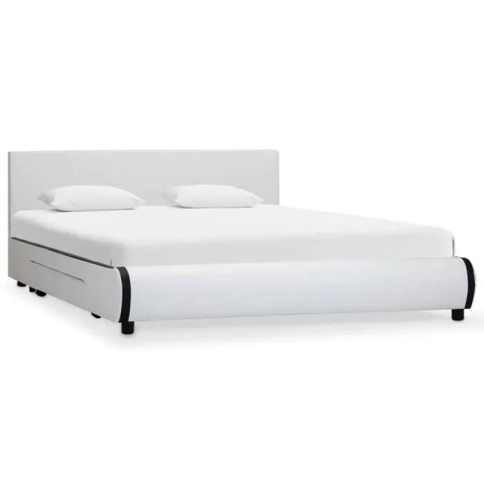 cadre de lit avec tiroirs blanc