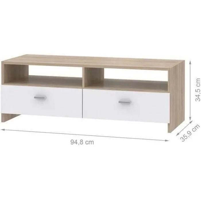meuble tv blanc mat chene l95 cm pilvi