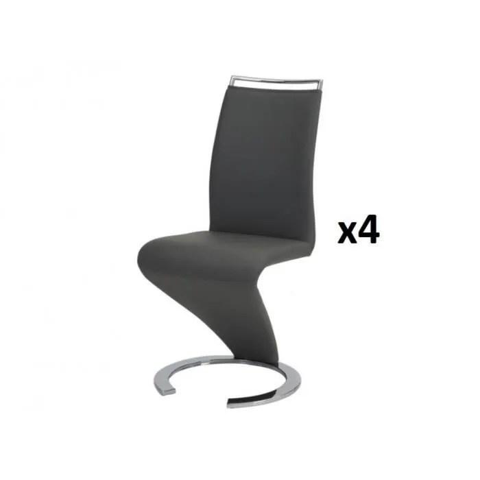 lot de 4 chaises twizy simili noir