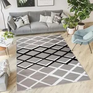 tapis salon design gris et blanc noir