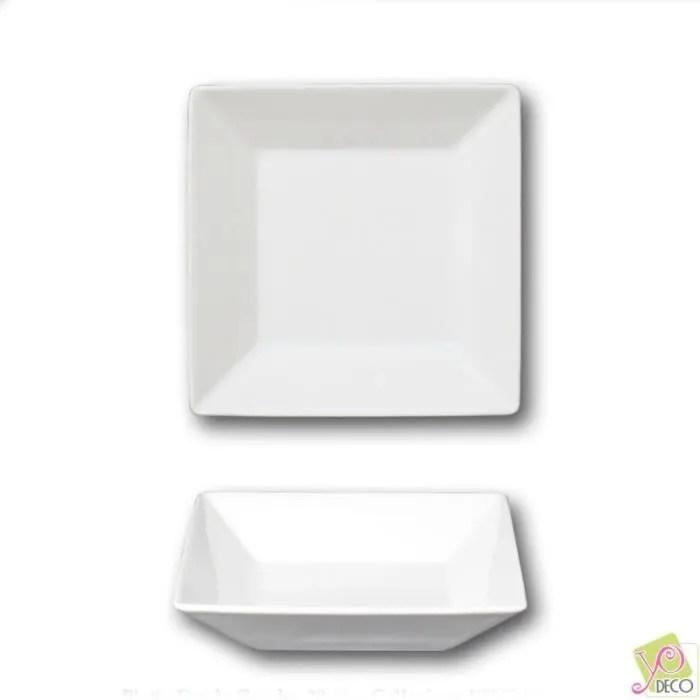 assiette carree creuse porcelaine blanche l 20 cm kimi