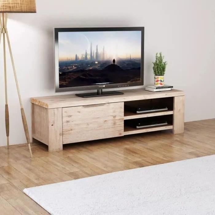 meuble tv meuble salon bois d acacia massif brosse 140 x 38 x 40 cm