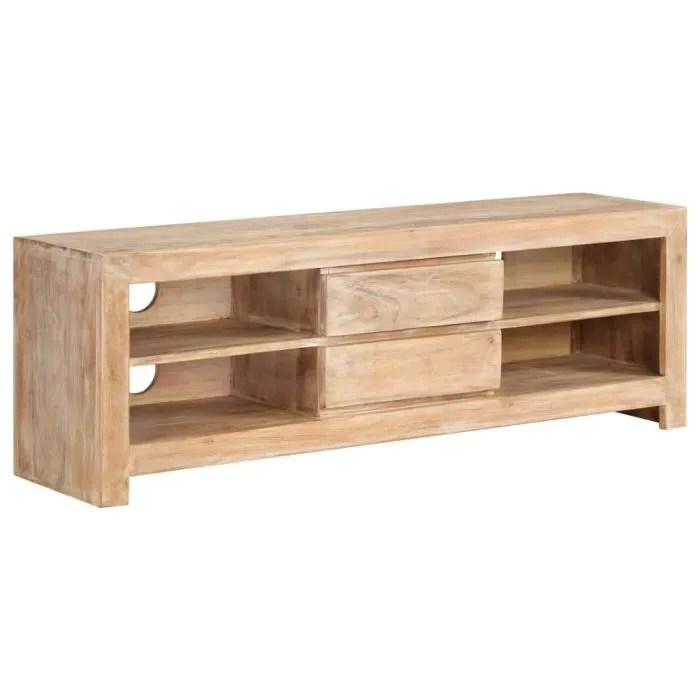 meuble tv bois d acacia massif 120 x 30 x 40 cm marron clair contemporain