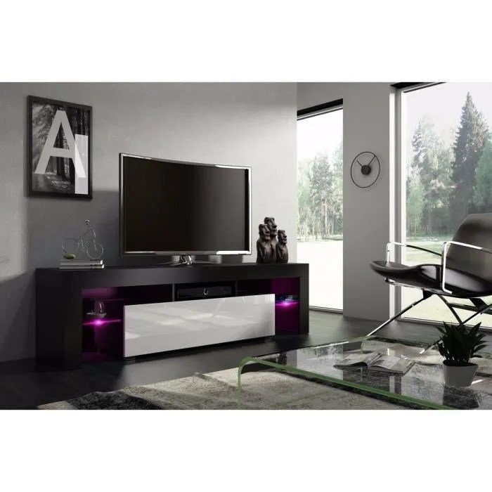 meuble tv 160 cm noir mat et blanc laque avec le