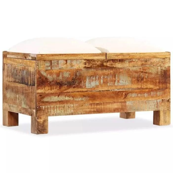 banc de rangement bois massif recycle 80 x 40 x 40 cm