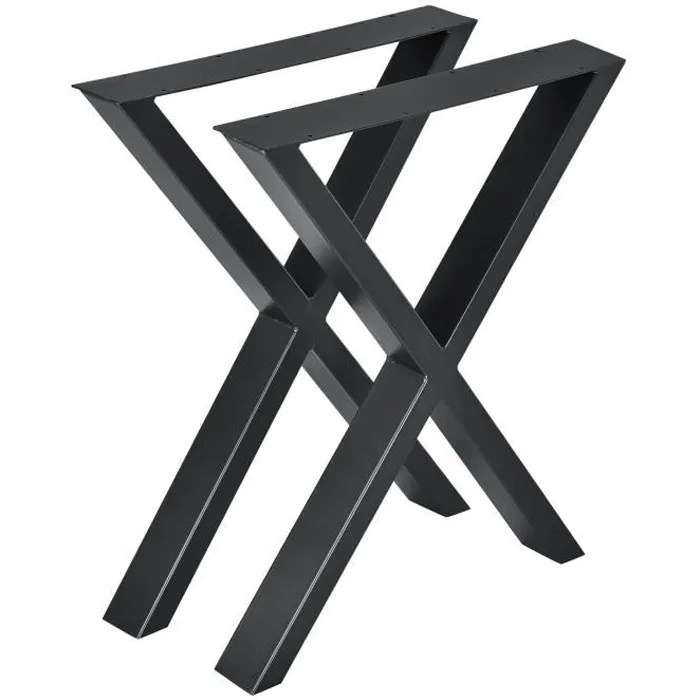 en casa set de 2 pieds de table pied de meuble metal forme x pied de table a manger noir 59 x 72 cm avec protecteur de sol et