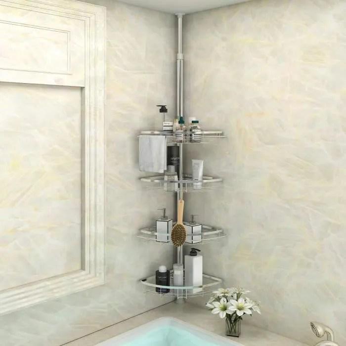 etagere salle de bain etagere de douche telescopique etagere douche d angle serviteur shampooing savon porte avec poteau reglable