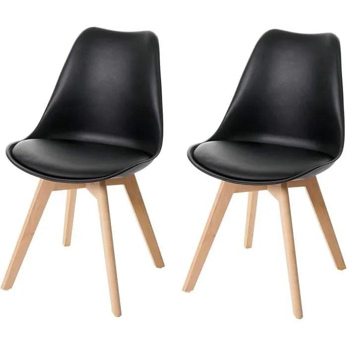 lot de 2 chaises scandinave en simili cuir noir plastique et pieds bois clair cds04435