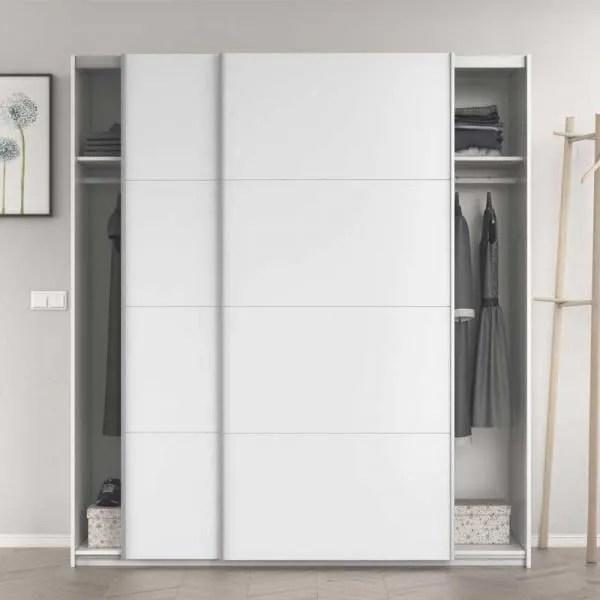 armoire 2 portes coulissantes blanc brillant cop