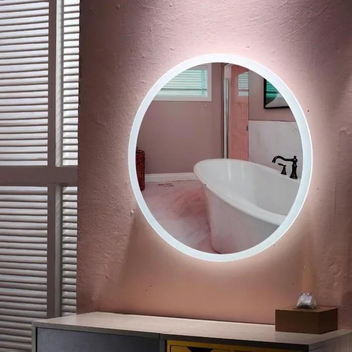 60cm miroir mural rond lumineux salle de bain led eclairage avec fonction anti buee blanc froid 6500k