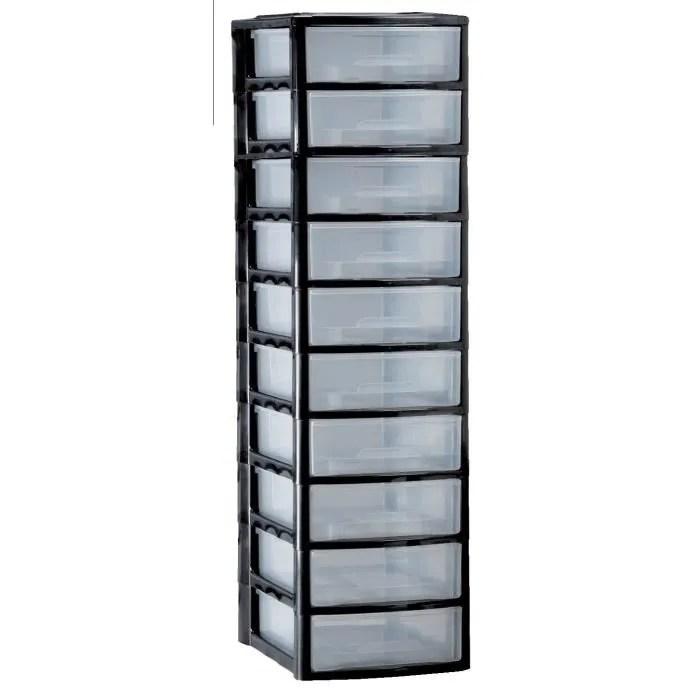 mhome tour a4 10 tiroirs bas noir l 27 x p 36 x h 97 cm