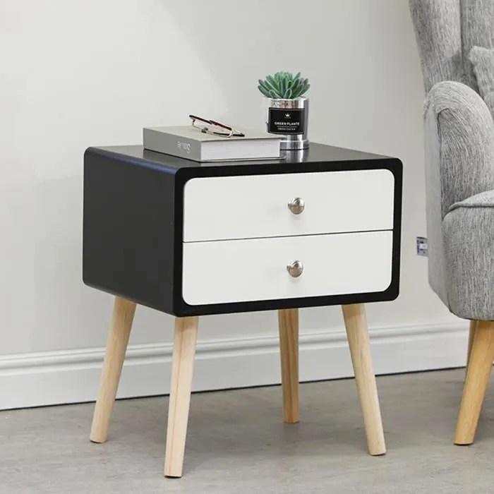 yosicol table de chevet nuit avec 2 tiroirs blanche noire style scandinave 42 32 50cm