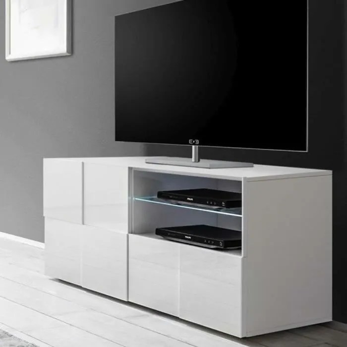 petit meuble tv blanc laque brillant artic l 121 x