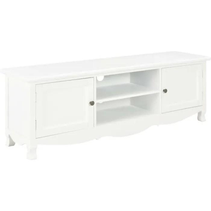 cesar meuble tv bois blanc 120 x 30 x 40 cm