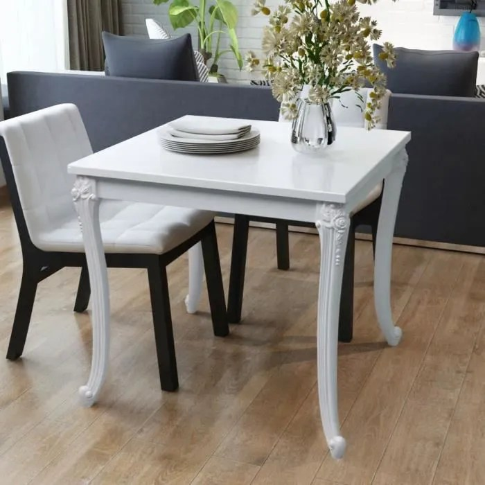 table carre 90x90 extensible blanche