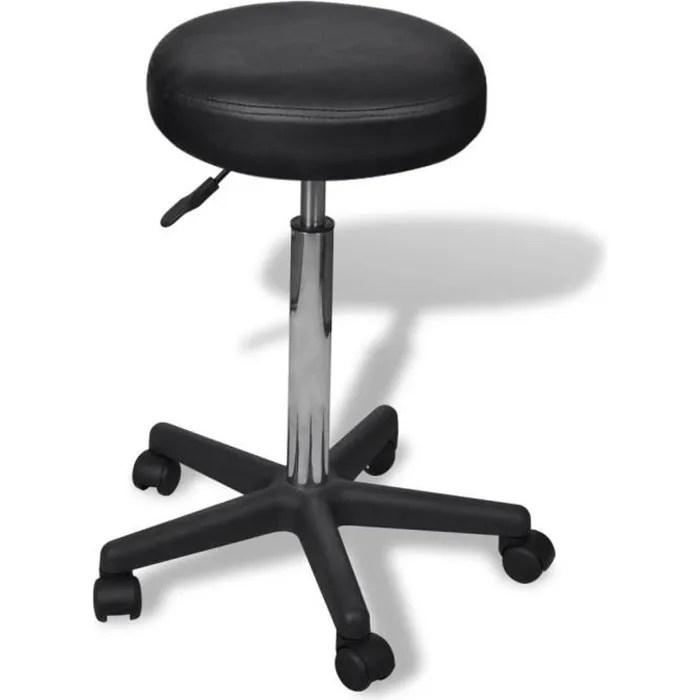 tabouret rond a roulette hauteur reglable h 65 98 cm style contemporain pivotable a 360 tabouret de bureau noir