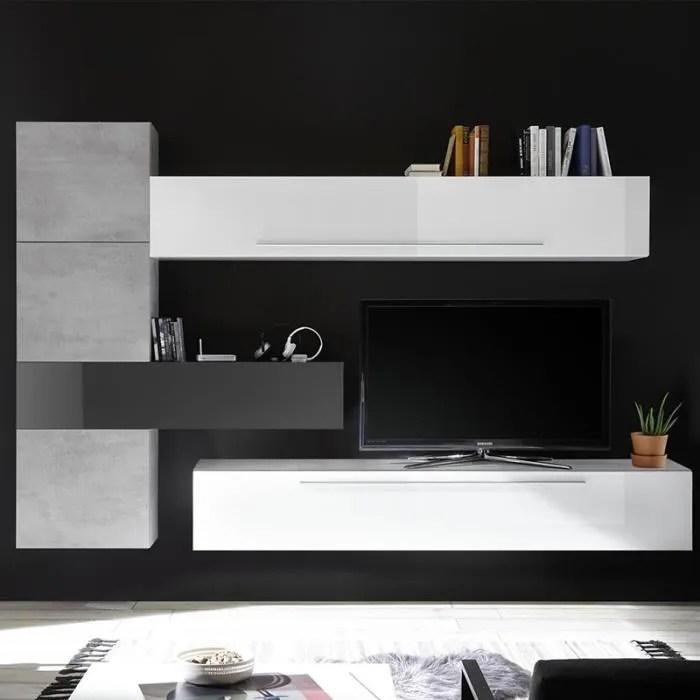 ensemble mural tv design blanc et gris potenza bla