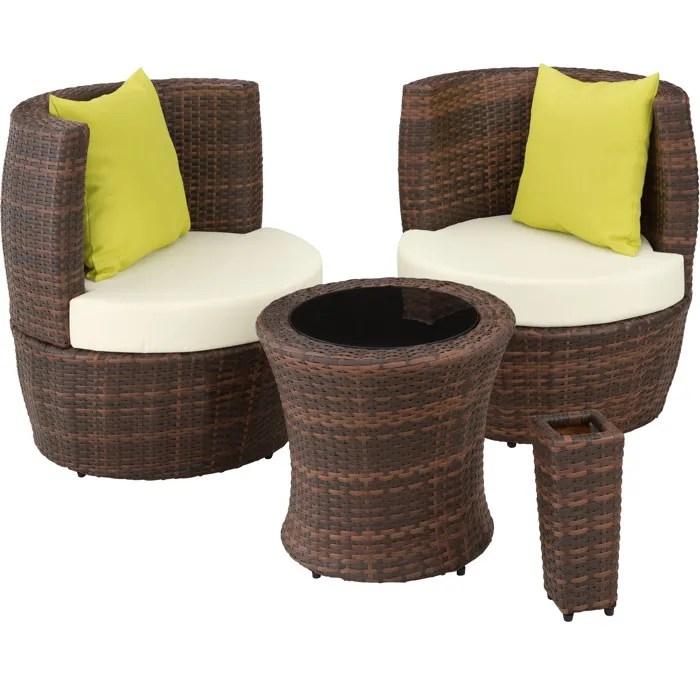 tectake salon de jardin nice encastrable 2 personnes en resine tressee cadre en aluminium 2 fauteuils 1 table 1 pot de fleurs marron