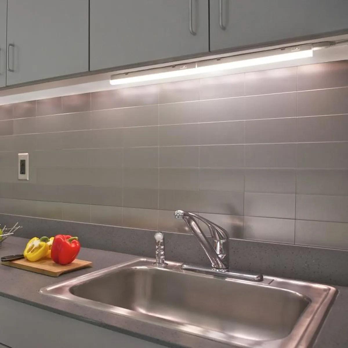 lampe reglette a led de barre plan de travail sous meuble cuisine led 5w avec interrupteur longueur 313mm connectable lot 2 lampes