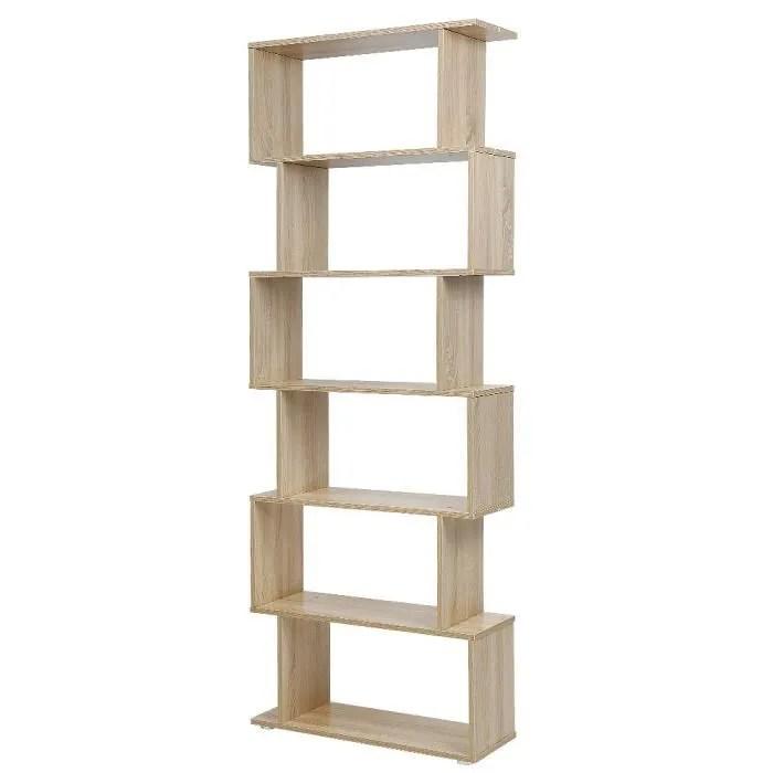 70 x 24 x 195 cm bibliotheque d angle 6 niveaux meuble de rangement pour livres decoration chene