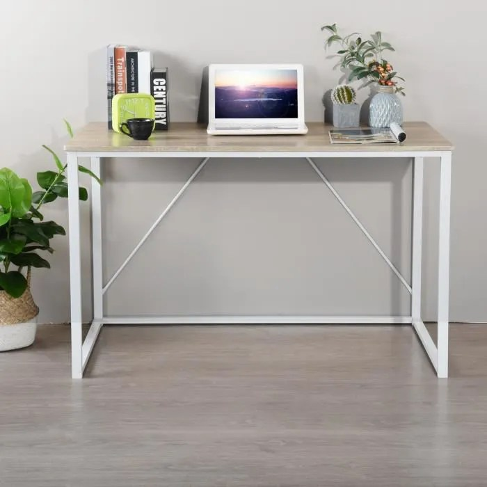 homy casa bureau chene blanc simple scandinave bois metal 120 60