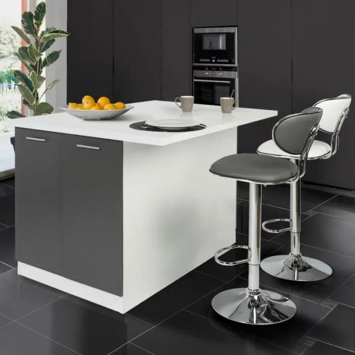 ilot central 120 cm blanc et gris avec plan de travail