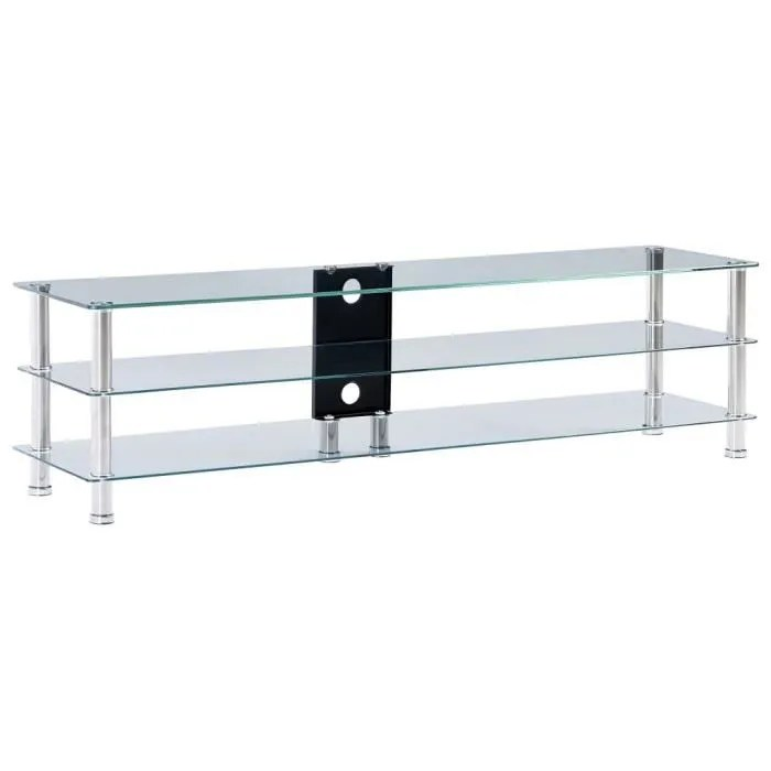 meuble tv transparent 150 x 40 x 40 cm verre tremp