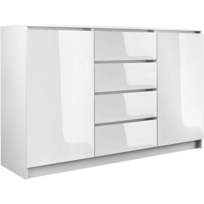 petit meuble rangement 4 tiroirs laque blanc