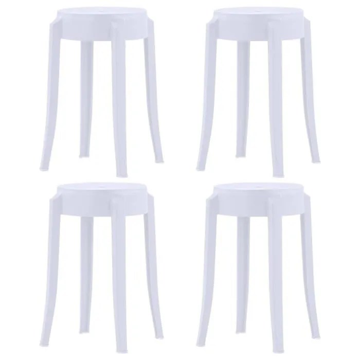 lot de 4 tabourets chaise empilables blanc plastique