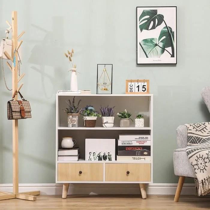homfa bibliotheque style scandinave etagere de sol avec 4 pieds et 2 tiroirs pour bureau rangementen salle en bois bois