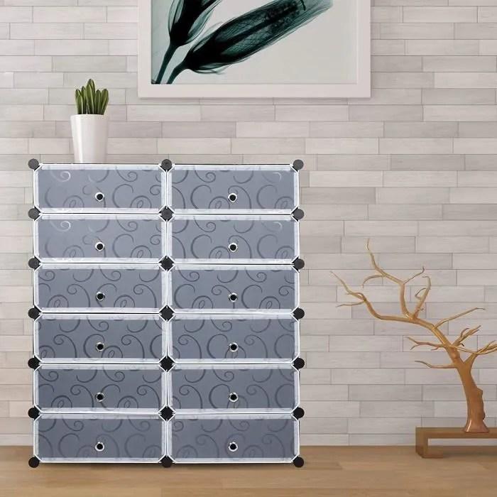meuble a chaussures en plastique armoire 12 cubes