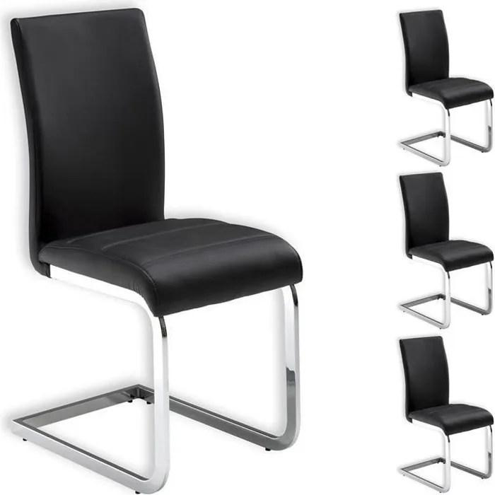 lot de 4 chaises de salle a manger leticia pietement chrome et revetement synthetique noir