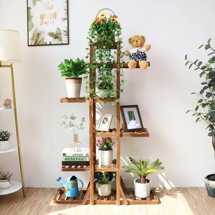 etagere echelle en bois pour plantes de 6 niveaux etagere a fleurs decoration exterieur interieur pour maison jardin bureau salle