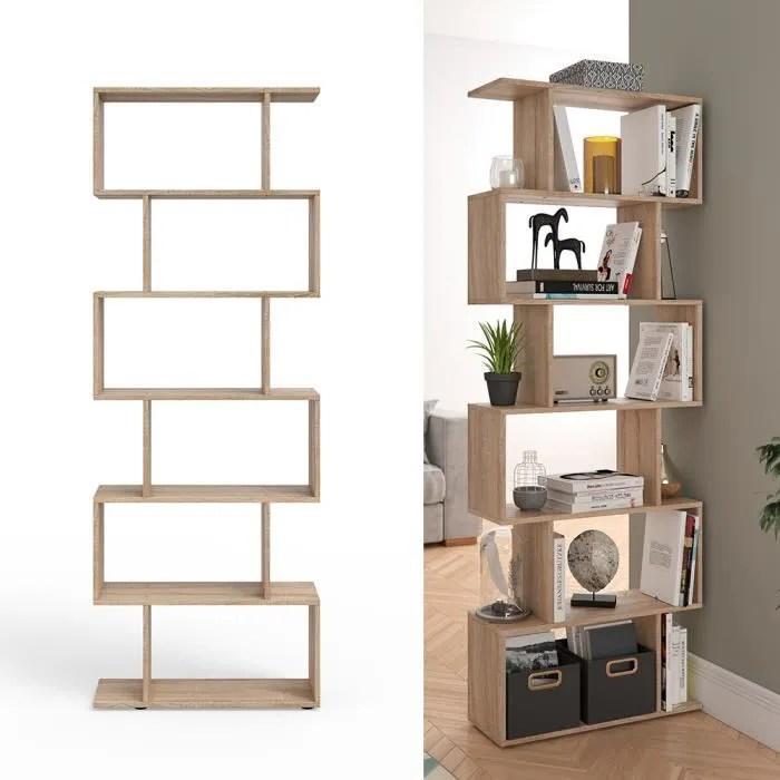 vicco cloison levio 6 compartiments meuble de separation etagere a livres sonoma