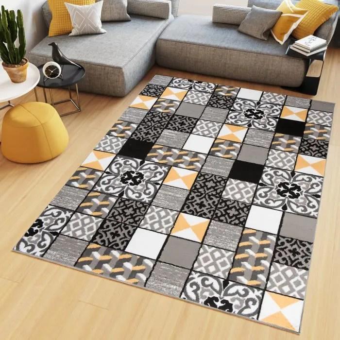 tapiso maya tapis salon chambre ado moderne geometrique mosaique jaune gris noir fin 120 x 170 cm