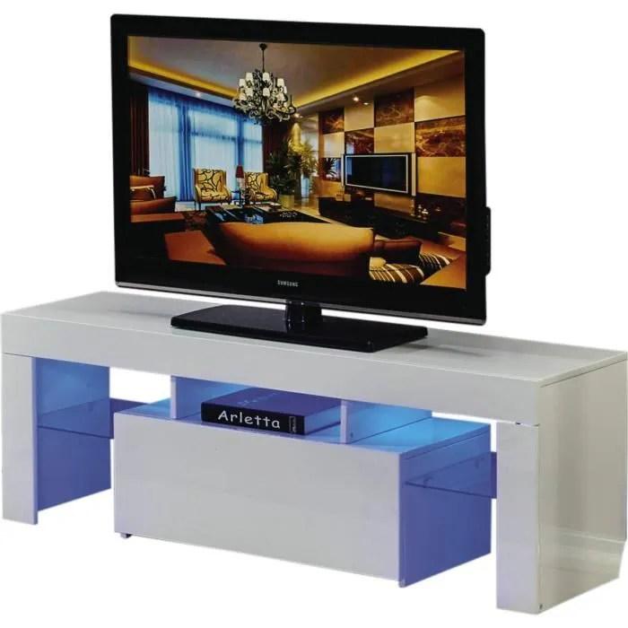 meuble tv led borda 130 x 34 x 45 cm blanc laq