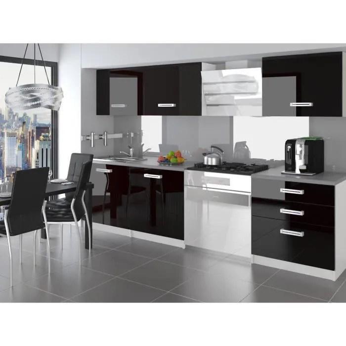 alto cuisine complete modulaire lineaire l 180 cm 6 pcs plan de travail inclus meubles cuisine noir gris