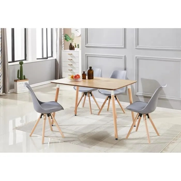 table a manger effet chene 4 chaises grises scandinaves ensemble salle a manger cuisine style scandinave