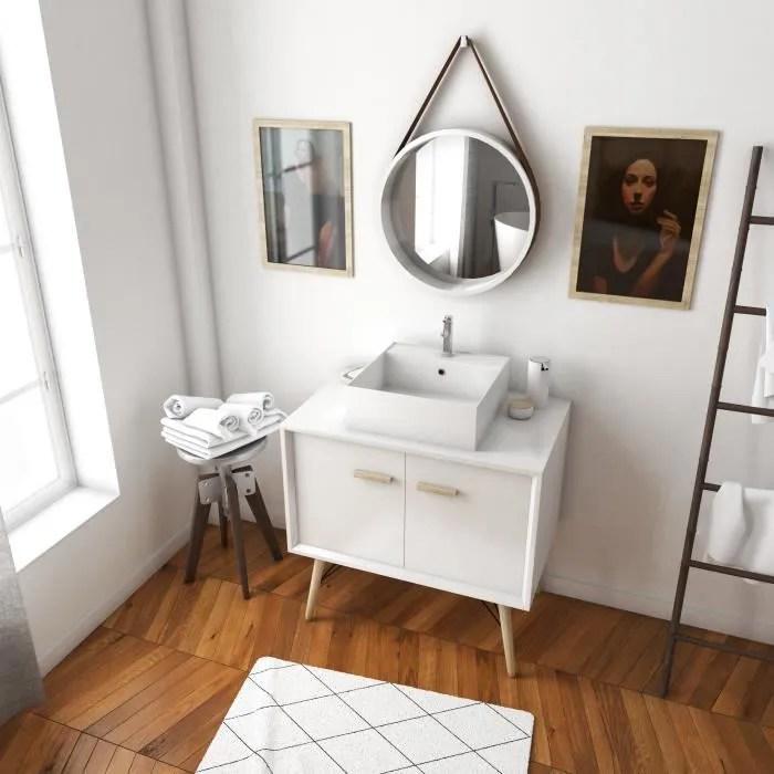 meuble salle de bain scandinave blanc 80 cm sur pieds avec portes vasque a poser et miroir xxxxxxxxxxx