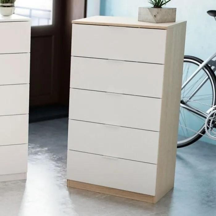 chiffonnier 5 tiroirs blanc chene clair natac blanc bois chiffonnier