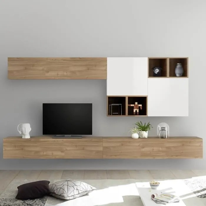 meuble tv suspendu couleur chene et blanc belfiore