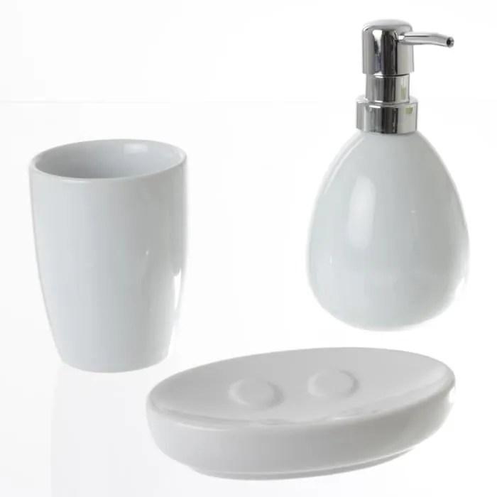 set de 3 accessoires salle de bain blanc brillan
