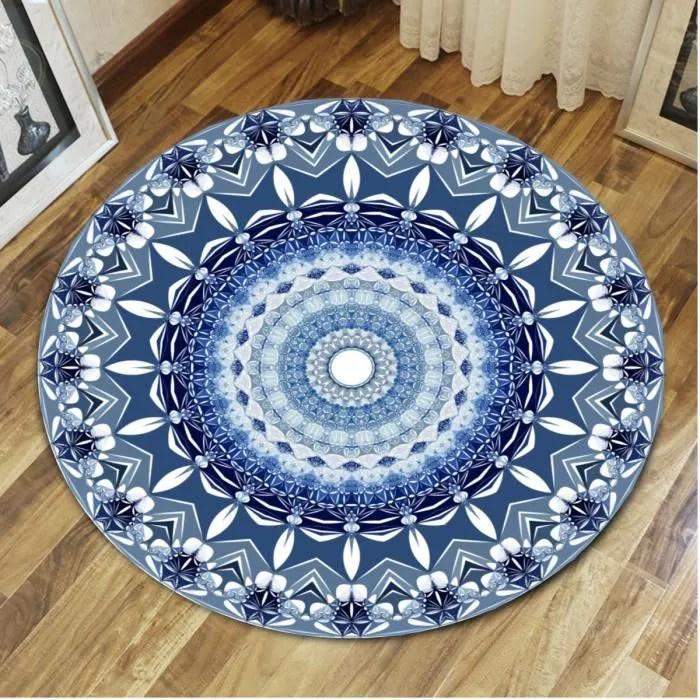 neufu tapis de sol rond mandala bleu decoration de