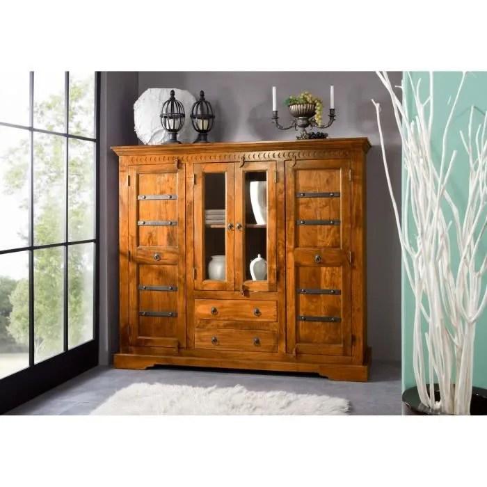 buffet avec vitrine bois massif d acacia laque miel style colonial oxford 0418