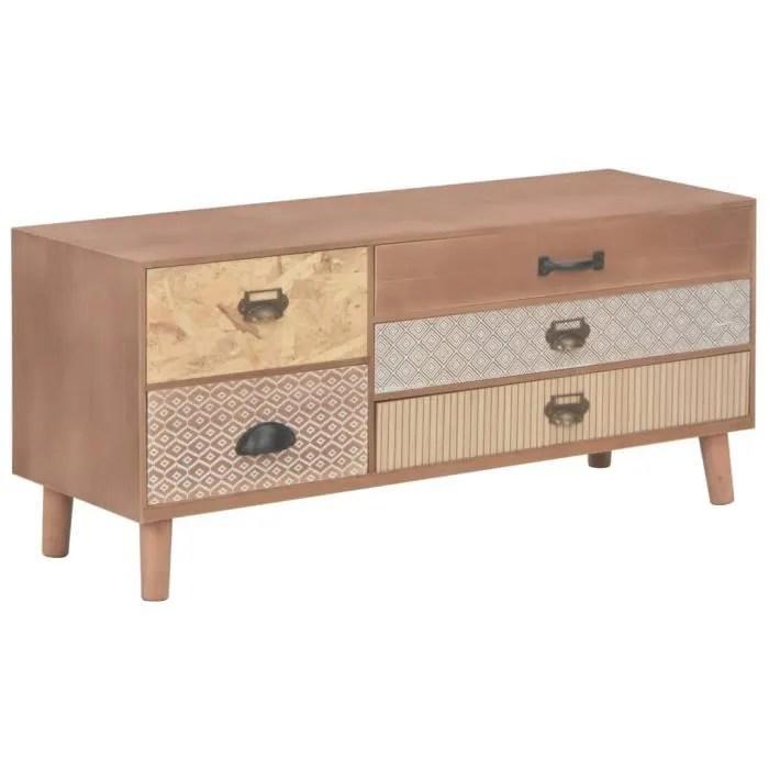 armoire de rangement casier meuble tv 5 tiroirs style scandinave bois de pin massif 90 x 30 x 40 cm