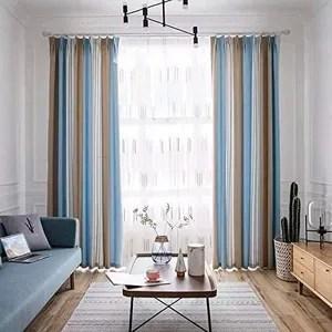 double rideau bleu gris