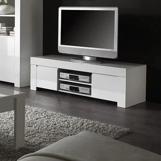 meuble tv blanc laque design pietra l 140 x p 50 x h 45 cm blanc