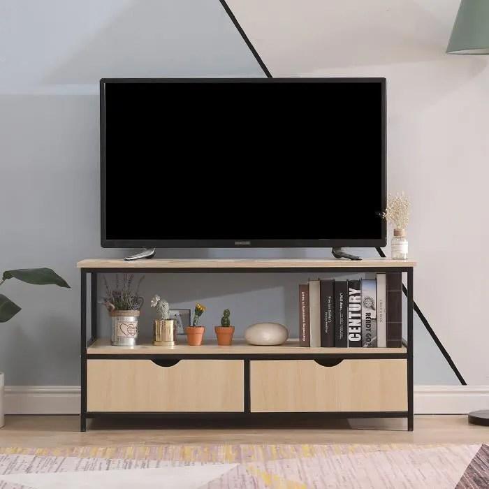 meuble tv industriel factory 110 40 55cm noir