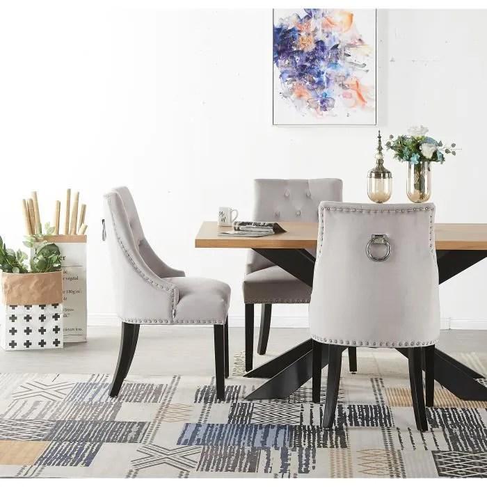 ensemble table a manger 4 a 6 personnes 4 chaises design en velours cloutees coloris chene gris